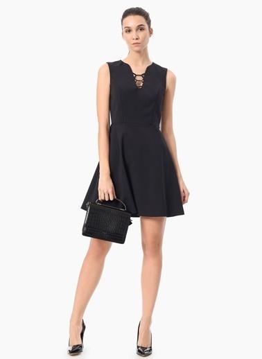 NetWork Volanlı Mini Elbise Siyah